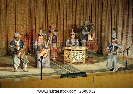 Concert with traditional mongolian music - stock photo
