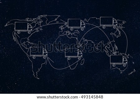 concet of movers or delivery service vehicle travelling across the globe: truck icon with arrows changing position on map of the world many times