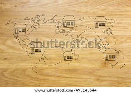 concet of moving to foreign countries and living as expat: house icon with arrows changing position on map of the world many times