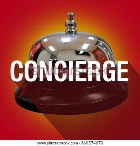 Concierge word with long shadow over a bell to ring for help, support or assistance - stock photo