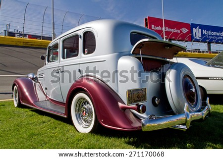 CONCORD, NC -- APRIL 11, 2015:  A 1935 Buick automobile on display at the Charlotte AutoFair classic car show held at Charlotte Motor Speedway. - stock photo