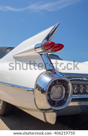 CONCORD, NC - APRIL 8, 2016:  A 1959 Cadillac automobile on display at the Pennzoil AutoFair classic car show held at Charlotte Motor Speedway. - stock photo