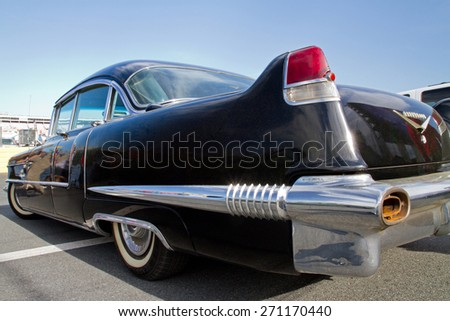 CONCORD, NC -- APRIL 11, 2015:  A 1956 Cadillac Fleetwood automobile on display at the Charlotte AutoFair classic car show held at Charlotte Motor Speedway. - stock photo