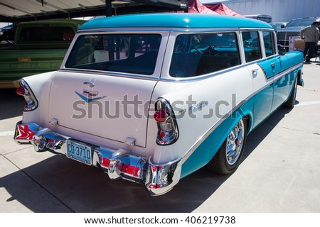 CONCORD, NC - APRIL 8, 2016:  A 1956 Chevrolet Bel Air station wagon on display at the Pennzoil AutoFair classic car show held at Charlotte Motor Speedway. - stock photo