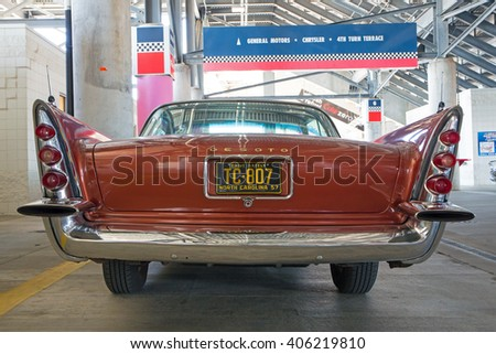 CONCORD, NC - APRIL 8, 2016:  A 1957 DeSoto automobile on display at the Pennzoil AutoFair classic car show held at Charlotte Motor Speedway. - stock photo