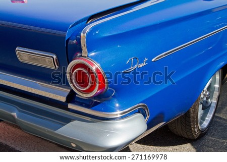 CONCORD, NC -- APRIL 11, 2015:  A 1963 Dodge Dart automobile on display at the Charlotte AutoFair classic car show held at Charlotte Motor Speedway. - stock photo