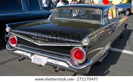 CONCORD, NC -- APRIL 11, 2015:  A 1959 Ford Fairlane 500 automobile on display at the Charlotte AutoFair classic car show held at Charlotte Motor Speedway.