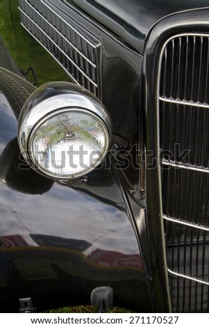 CONCORD, NC -- APRIL 11, 2015:  Close up of a 1935 Ford automobile on display at the Charlotte AutoFair classic car show held at Charlotte Motor Speedway.