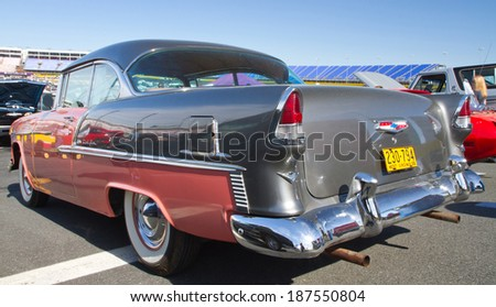 CONCORD, NC -- APRIL 05, 2014: Rear view of a 1955 Chevrolet Bel Air on display at the Charlotte AutoFair classic car show held at Charlotte Motor Speedway.