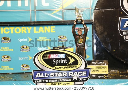 """Concord, NC - May 18, 2014: Jamie McMurray (1) wins  the """"Sprint All Star """" at Charlotte Motor Speedway in Concord, NC. - stock photo"""