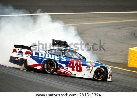 Concord, NC - May 24, 2015:  Jimmie Johnson (48) spins off turn 4 during the Coca-Cola 600 at Charlotte Motor Speedway in Concord, NC.