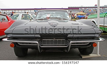 CONCORD, NC - SEPTEMBER 21:  A 1966 Chevrolet Corvette on display at the Charlotte Auto Fair classic car show at Charlotte Motor Speedway in Concord, North Carolina, September 21, 2013.