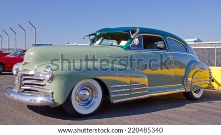 CONCORD, NC -- SEPTEMBER 20, 2014:  A 1948 Chevrolet Fleetline automobile on display at the Charlotte AutoFair classic car show held at Charlotte Motor Speedway. - stock photo