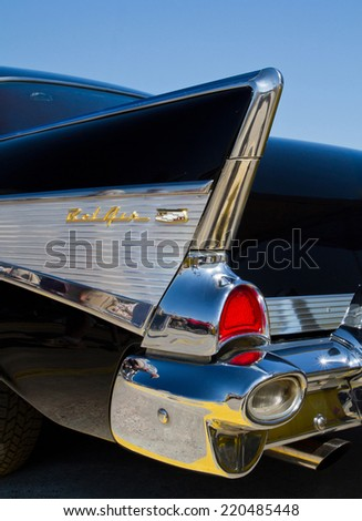 CONCORD, NC -- SEPTEMBER 20, 2014:  A 1957 Chevy Bel Air automobile on display at the Charlotte AutoFair classic car show held at Charlotte Motor Speedway. - stock photo