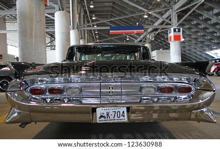 CONCORD, NC - SEPTEMBER 22:  A 1959 Lincoln Continental automobile on display at the Charlotte AutoFair classic car show at Charlotte Motor Speedway in Concord, North  Carolina, September 22, 2012. - stock photo