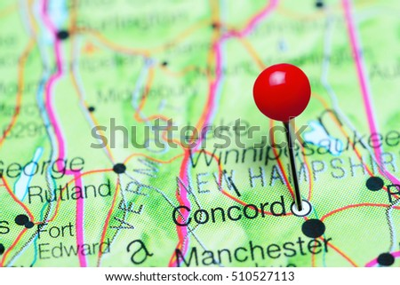 concord pinned on a map of new hampshire usa