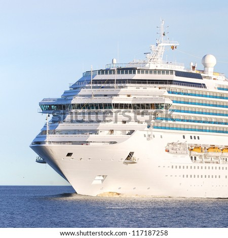 Concordia-class cruise liner entering the port of Riga - stock photo