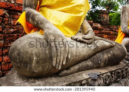 Concrete ancient buddha - stock photo