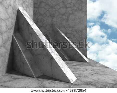 Concrete architecture construction on cloudy sky background. 3d render illustration