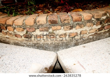 Concrete bench & brick wall - stock photo