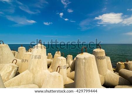 concrete block break water at baltic sea, Kolobrzeg, Poland - stock photo