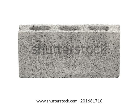 Concrete block isolated on white - stock photo