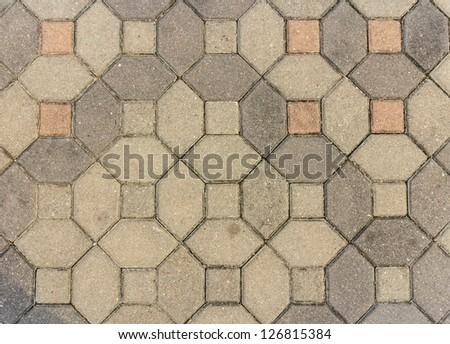 concrete block pavement - stock photo