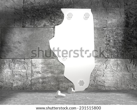 concrete blocks empty room with clear outline illinois state map attached to wall by bolts - stock photo