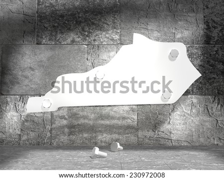 concrete blocks empty room with clear outline kentucky state map attached to wall by bolts - stock photo
