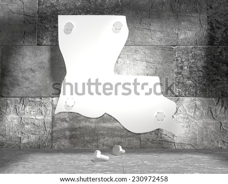 concrete blocks empty room with clear outline louisiana state map attached to wall by bolts - stock photo