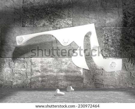 concrete blocks empty room with clear outline maryland state map attached to wall by bolts - stock photo