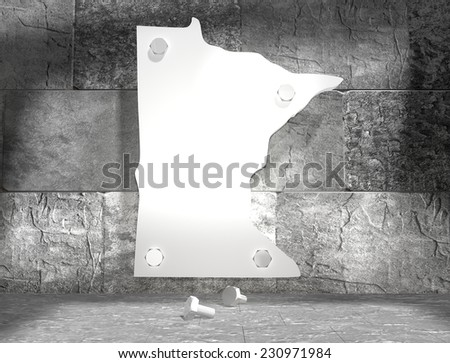 concrete blocks empty room with clear outline minnesota state map attached to wall by bolts - stock photo
