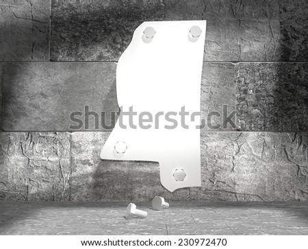 concrete blocks empty room with clear outline mississippi state map attached to wall by bolts - stock photo