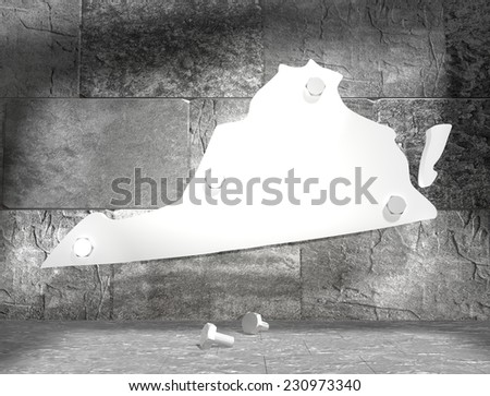 concrete blocks empty room with clear outline virginia state map attached to wall by bolts - stock photo
