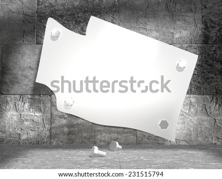 concrete blocks empty room with clear outline washington state map attached to wall by bolts - stock photo