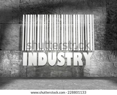 concrete blocks empty room with white barcode and industry text on wall