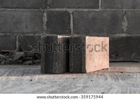 Concrete blocks or cement blocks for construction work - stock photo