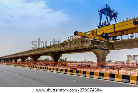 Concrete Bridge Under Construction - stock photo