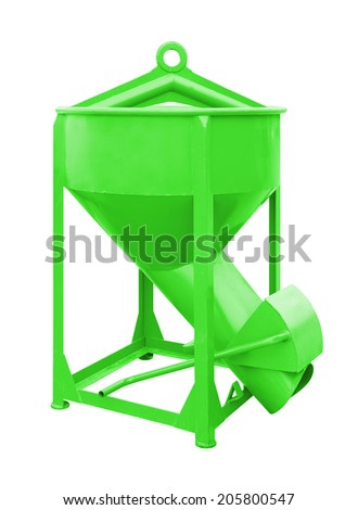 Concrete bucket (green color) isolated on white background.