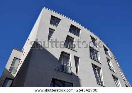 concrete building fragment, Moscow, Russia - stock photo