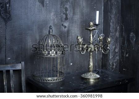 concrete colored wall. grunge metallic interior - stock photo