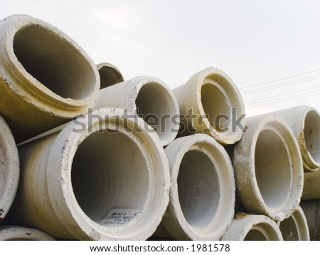 Concrete conduits for water or drainage systems. - stock photo