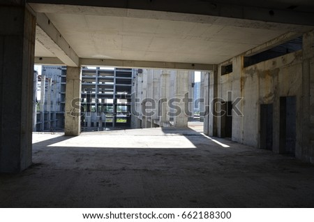 concrete construction, unfinished abandoned building