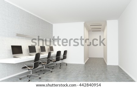 concrete coworking office interior with white walls archway long table with computer monitors and