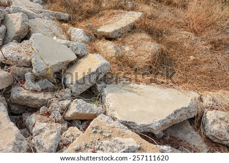 concrete crack waste - stock photo
