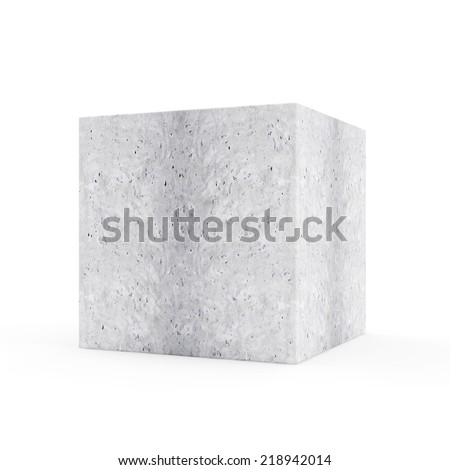 Concrete Cube isolated on white background - stock photo