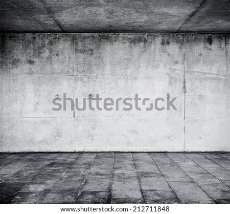 Concrete dark interior - stock photo