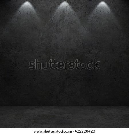 Concrete dark wall and floor. 3D rendering