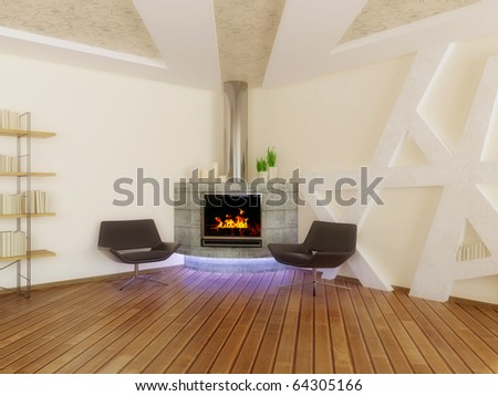 concrete fireplace and armchairs in room with white walls - stock photo