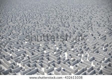 Concrete gray labyrinth, solving concept. 3d illustration - stock photo